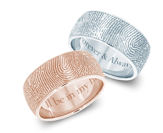 Rose gold and Sterling silver fingerprint rings with custom inscriptions